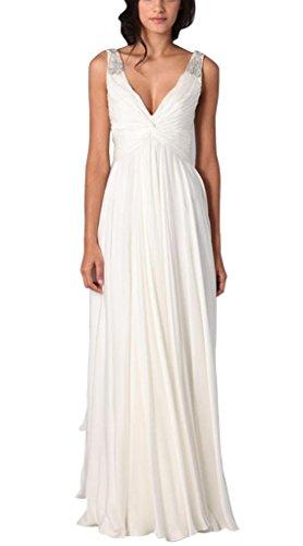 V GEORGE Chiffon Weiß Abendkleid Sexy Ausschnitt BRIDE bodenlangen fapwqzaEx