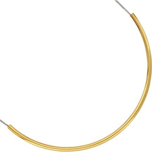SF Bijoux - Collier argent 925/1000e 2 tons tube doré (40+4 cm - 12,20 g) - (301632-44)