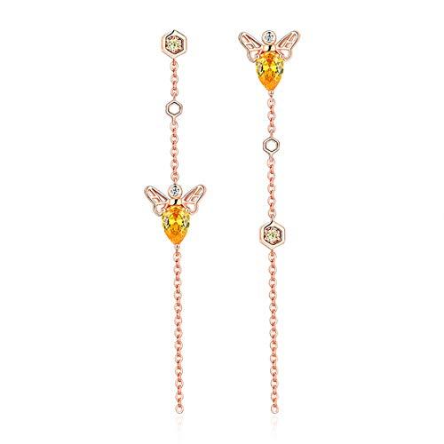 (VANA JEWELRY Women Dangle Drop Gold Bee Earrings Sterling Silver Earrings Dangle Long Girls Earrings Hypoallergenic for Sensitive Ears CZ Diamond Dangling Earrings Anniversary Jewelry)