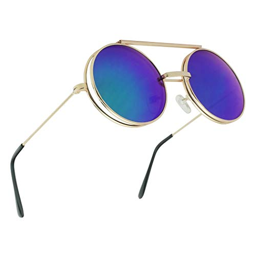 Gold Round Metal Hipster Fashion Flip Up Glasses Sunglasses with Mid Night Green Revo Lenses
