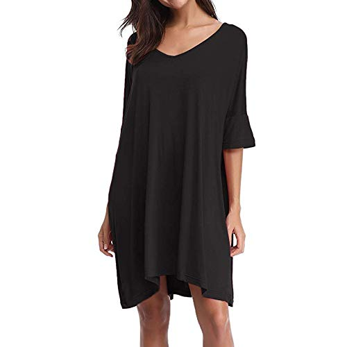 Lookatool LLC Women's V-Neck Short Sleeve T-Shirt Dress Loose Nightshirt Sleepwear ()