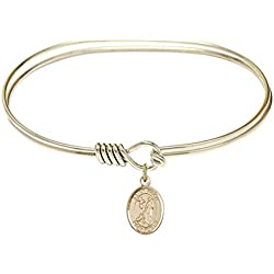 St. Roch-7 inch Oval Eye Hook Bangle Bracelet with a St. Roch charm.-Saint Roch is the patron saint of Bachelors/Dogs. Memorial Day August 16th.-Bachelors/Dogs