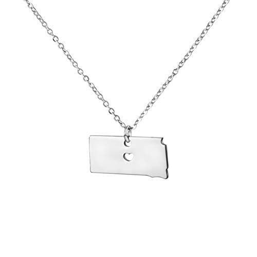Sd South Dakota - Yiyangjewelry Stationed Mini State Pendant Necklace Birthday Gift for Girls South Dakota SD
