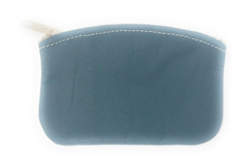 Classic Men's Large Coin Pouch Change Holder, Genuine Leather, Zippered Change Purse, Pouch Size 5 x 3 By Nabob (Teal)