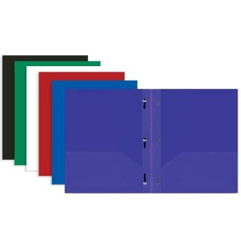 3 Pk, BAZIC Solid Color 2-pockets Poly Portfolio with 3 Prongs