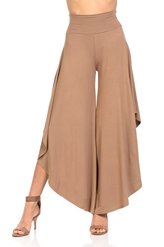 Ladybug Women's Layered Wide Leg Flowy Cropped Palazzo Pants, 3/4 Length High Waist Palazzo Wide Legs Capri Pants