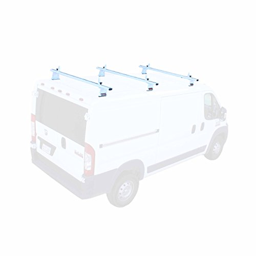 (AA-Racks Model AX302 RAM ProMaster 2013-On Aluminum 3 Bar Van Roof Rack System With Ladder Stopper White)