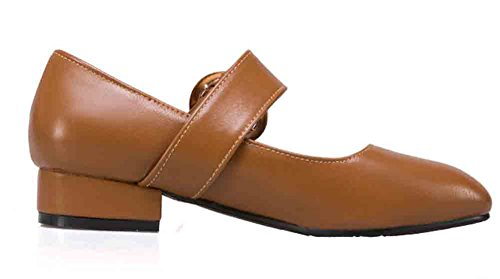 Easemax Womens Retro Square Toe Low Cut Strapped Belt Low Block Heel Mary Jane Pumps Shoes Camel LR8kd