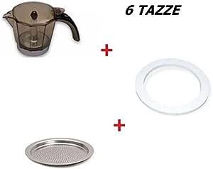 Kit de una jarra para cafetera de 6 tazas Alicia DeLonghi + Junta + Filtro de repuesto original: Amazon.es: Hogar