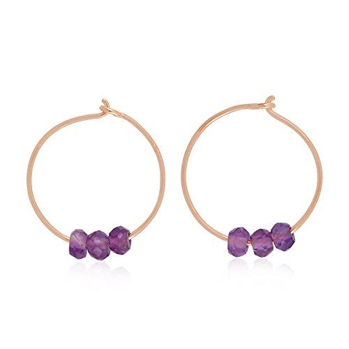 14K Rose Gold Natural Amethyst Beads Hoop Earrings For Women (12 MM) (rose-gold, amethyst) ()