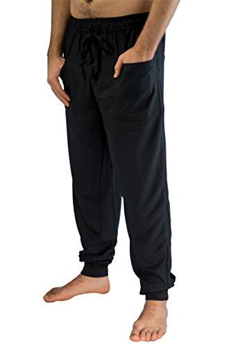 PIYOGA Men's Jogger Pants - Slim Fit, Yoga, Casual (Adjustable US M 30-34) -Black ()