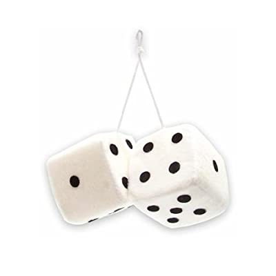 "Vintage Parts 14554 3"" White Fuzzy Dice with Black Dots - Pair: Automotive"
