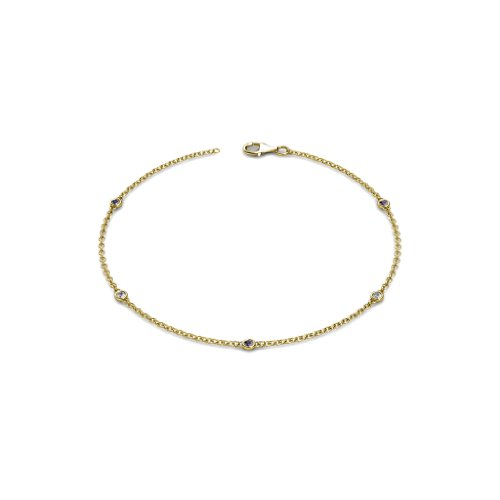 - TriJewels Petite Iolite and Diamond (SI2-I1, G-H) 5 Station Bracelet 0.13 cttw in 14K Yellow Gold