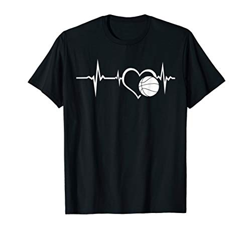 (Funny Basketball Lover Heartbeat I Love Basketball Tee Shirt)