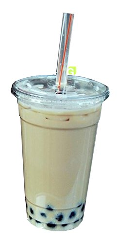 Green Direct Plastic Ultra Clear Cups With Flat Lids for Iced Coffee Bubble Boba Tea Smoothie (100, 10 Ounce)
