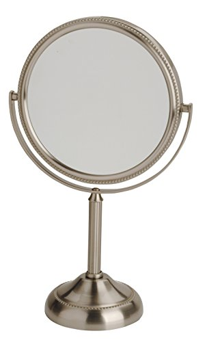 Price comparison product image Jerdon JP910NB 6-Inch Tabletop Two-Sided Swivel Vanity Mirror with 10x Magnification, 11-Inch Height, Nickel Finish