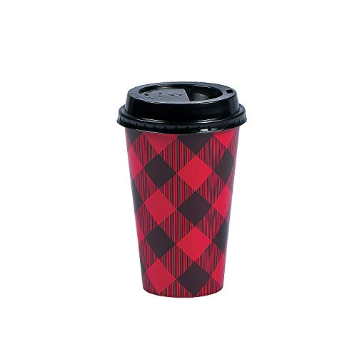 Fun Express - Buffalo Plaid Insulated Coffee Cups - Party Supplies - Print Tableware - Print Cups - 12 Pieces ()