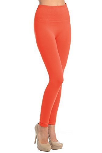 VIV Collection High Waisted Fleece Solid Leggings (Coral A1) (Collection Coral)