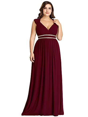 Ever-Pretty Women's V-Neck Empire Waist Floor Length Bridesmaid Dress Plus Size Burgundy US22
