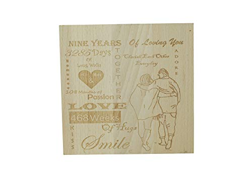 Pirantin Nine Years of Loving You - 9th Anniversary Solid Heavy Decorative Free Standing Ornament (9 Year Wedding Anniversary Gift Ideas Uk)