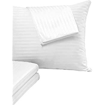 4 Pack Pillow Protectors Queen 20x30 Inches Life Time Replacement Tight Weave 3 Micron Pore Size Enhanced Protection 100% Cotton Sateen High Thread Count 400 Style Zippered White Hotel Quality Cov