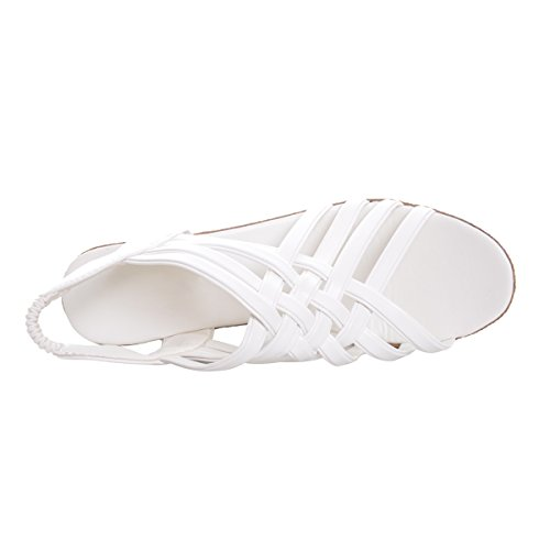 Estimado Tiempo Sandalias Elegantes Para Mujeres Plataformas Altas Recortes Zapatos Blanco