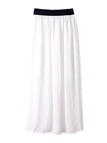 Pieghe Aoliait A In Skirt Cintura Donna Eleganti Vita Taglie Elastica Forti White Popolare Gonna Chiffon Estive 8Ir8q0