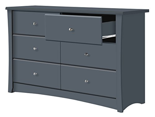 Storkcraft Crescent 6 Drawer Dresser, Grey, Kids Bedroom Dresser with 6 Drawers, Wood and Composite Construction, Ideal for Nursery Toddlers Room Kids Room - BEAUTIFUL DESIGN: The Storkcraft Crescent 6-Drawer Universal Dresser's elegant curves and sleek lines bring a touch of elegance to any bedroom or nursery. This easy-to-assemble dresser is the perfect combination of elegant design & practical function. CO-ORDINATE YOUR STYLE: Designed to match any Storkcraft crib, glider, or change table, the Crescent bedroom dresser is ideal for organizing baby's clothes, socks, onesies, even burp rags & diapers! Sturdy & functional, it fits seamlessly with any décor. ORGANIZATION MADE EASY: With 6 spacious drawers to fit clothes, accessories or toys, the Storkcraft Crescent Dresser will help you keep the nursery, toddler's room, or kid's room neat and organized. The stylish, sleek design will look beautiful for years. - dressers-bedroom-furniture, bedroom-furniture, bedroom - 318V5C7srCL -