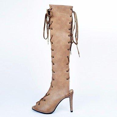 Sanmulyh Damesko Efterårets Mode Pu Støvler Stilethæl Hæl Sandal Støvler Til Afslappet Beige Beige OgzFhoH
