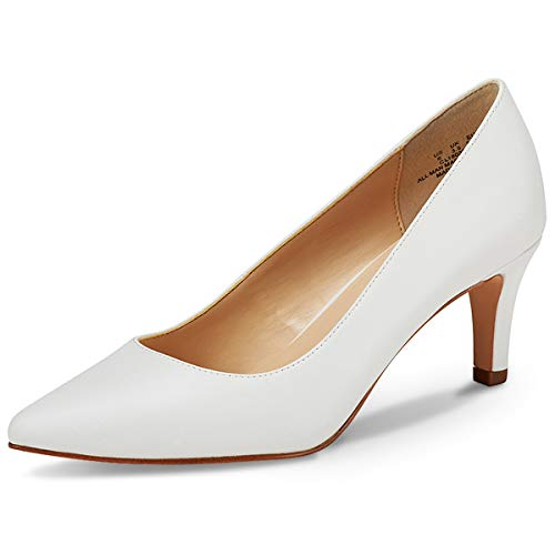 Womens Pointed Toe Pumps - JENN ARDOR Women's High Heels Ladies Pointed Toe Slip On Mid Heel Dress Party Pumps White 6.5 (9.2in)