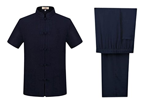 Nanxson(TM Men Tang Suit Summer Linen Short Sleeve Shirt and Pant Set Sportwear YDTZM0007 (XXL/Tag185, Blue)