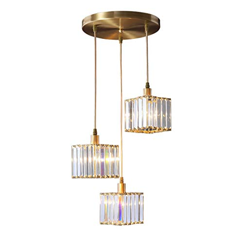Brass Crystal Chandelier 3-Head Cube Design Prism Crystal Lampshade Light Luxury Restaurant Bar Cafe Pendant Light E143,3-Head disc