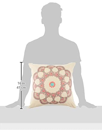 18X18 Global Inspired Print Square Decorative Pillow Mint Echo Design EO30-1223A Echo Guinevere Fashion Cotton Foam Throw Pillow