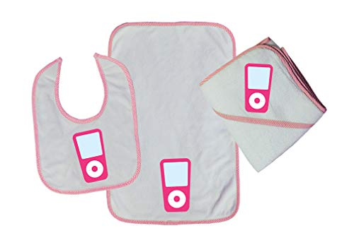 Pink Ipod Cotton Boys-Girls Baby Bib-Burb-Towel Set - Soft Pink, One Size
