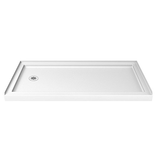 - DreamLine SlimLine 32 in. D x 60 in. W x 2 3/4 in. H Left Drain Single Threshold Shower Base in White