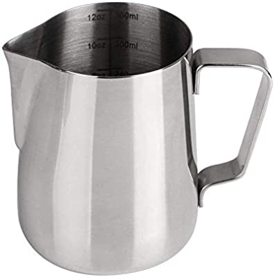 Frothing Pitcher Stainless Steel Milk Pitcher Pouring Jug Espresso Cup 12 Oun...