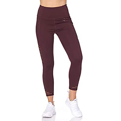BSP Better Sports Performance Women's High Waist Leggings - 7/8 Workout Pants with Mesh Pocket, Non See-Through at Women's Clothing store