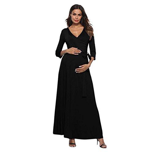 Nat Terry Women Maternity Dresses, High Waist Solid Waist Belt V-Neck Pregnant Long Dress by Nat Terry