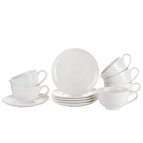 Porlien White Porcelain Cappucino Cups Coffee Cups Set of 6, 5Oz