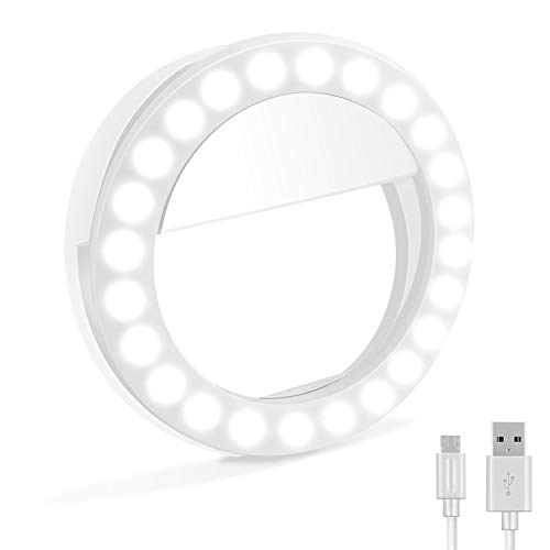 Selfie Ring Light, XINBAOHONG Rechargeable Portable Clip-on Selfie Fill Light with 36 LED for Smart Phone Photography, Camera Video, Girl Makes up (White, 48LED)]()