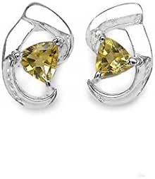 Silvancé - Women's Earrings - 925 Sterling Silver - Genuine Gemstone: Citrine - E315C_SSR