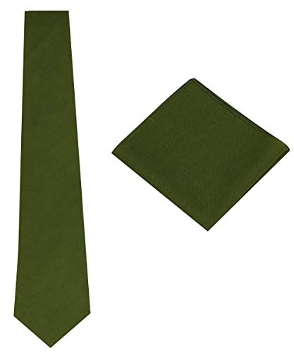 Mens Solid Linen Tie Set : Necktie with Matching Pocket Square-Various Colors (Olive Green)