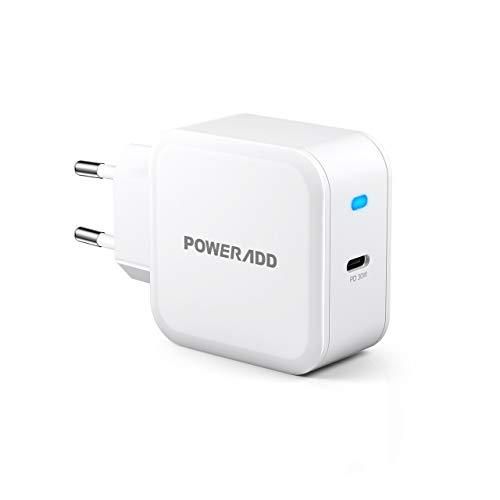 POWERADD Chargeur Secteur Mural USB C -30 W Quick Charge Protections Multiples avec Indicateur LED Compatibilité Universelle Compact et Portable Blanc pour Smartphone Tablette