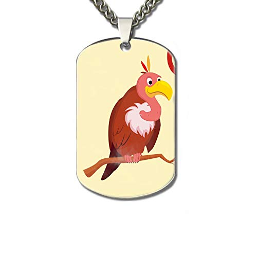 XIOZURV Vulture Funny Alphabet Animal Personalized Pet Necklace ID Tags for Dogs & Cats, Includes Protect Tag & Single-Sided Printing -
