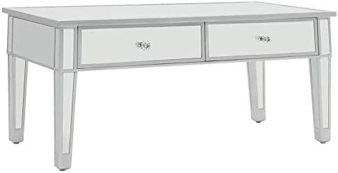 Groothandel Kwaliteit lyrlody- spiegelende salontafel woonkamertafel koffietafel bijzettafel met schuifladen (voering van vliesstof) voor woonkamer slaapkamer, 100 x 50 x 45 cm  WPUxR5Y