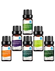 Pursonic 100% Pure Essential Aromatherapy Oils Gift Set6 Pack  10MLEucalyptus Lavender Lemon grass Orange Peppermint Tea Tree