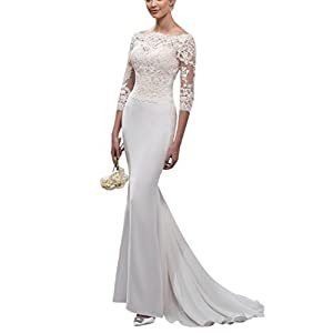 82399b76c2 Doramei Women s Bridal Gown 2018 Lace Appliques Sheath 3 4 Sleeve Off The  Shoulder Button Closure Wedding Dress For Bride White 14