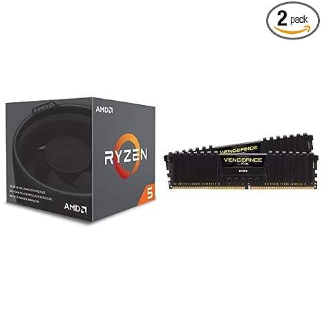 AMD Ryzen 5 2600 Processor with Wraith Stealth Cooler w/Corsair Vengeance  LPX 16GB (2x8GB) DDR4 DRAM 3000MHz C15 Desktop Memory Kit - Black
