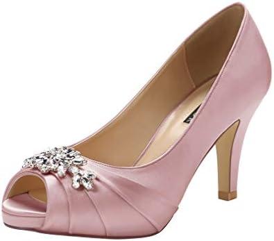 Gold Rhinestone Peep Toe Formal Dance Heels Bridesmaid Wedding Shoes Womans Size