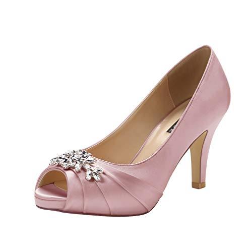 (ERIJUNOR E0055 Peep Toe Mid Heels for Woman Rhinestones Satin Evening Prom Wedding Shoes Rose Gold Size)